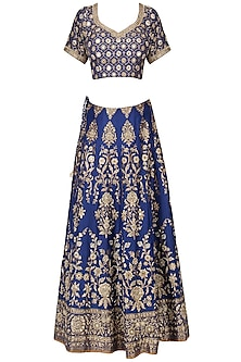 Royal Blue Banarasi Handwoven Embroidered Lehenga Set