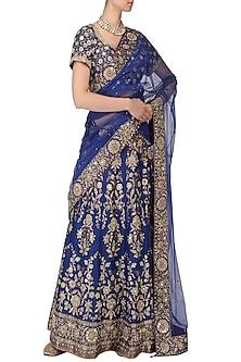 Royal Blue Banarasi Handwoven Embroidered Lehenga Set by Ekaya