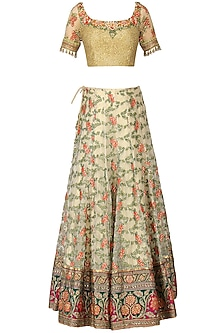 Ivory and Multi-Coloured Banarasi Handwoven Embroidered Lehenga Set