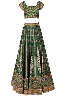 Dusty Green Banarasi Handwoven Embroidered Lehenga Set