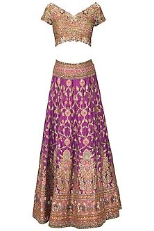 Purple and Multi-Coloured Banarasi Handwoven Embroidered Lehenga Set