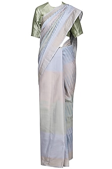 Grey Printed Handwoven Banarsi Saree
