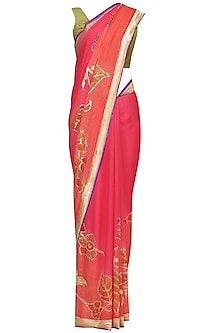 Pink Floral Printed Banarsi Saree