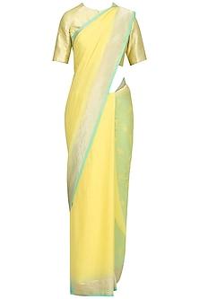 Yellow Handwoven Plain Banarsi Saree