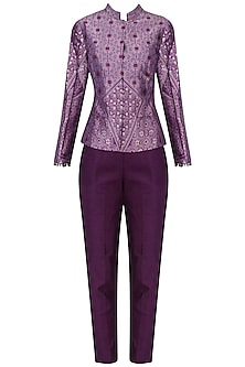 Purple Handwoven Short Jacket and Pants Set by Ekaya