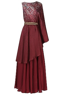 Maroon One Sleeve Double Layer Dress