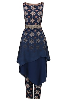 Blue Printed Assymetrical Tunic and Pants Set