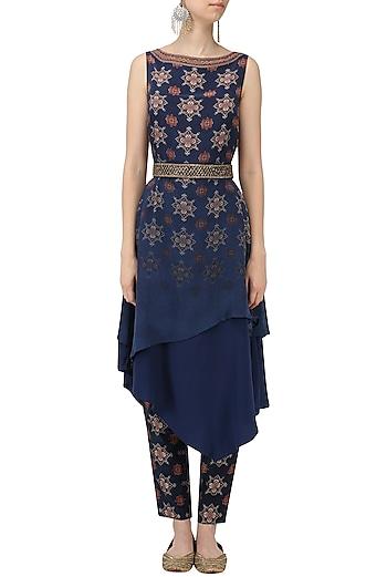 Blue Printed Assymetrical Tunic and Pants Set by Ekaya