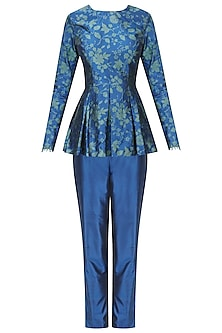 Royal Blue Handwoven Printed Short Kurta with Pants Set by Ekaya