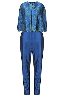 Royal Blue Handwoven Printed Cape with Blouse and Pants Set