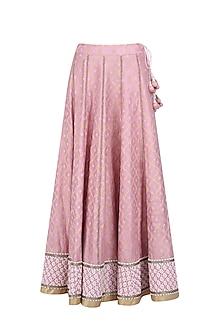 Pink Banarasi Tissue Lehenga Skirt with Dupatta by Ekaya