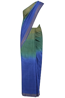 Berry Blue and Fern Green Shaded Saree with Grey Crop Top
