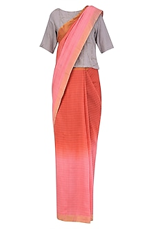 Pink and Rose Pink Ombre Shaded Saree with Grey Crop Top