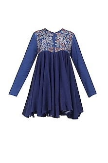 Berry Blue Thread Embroidered Jacket