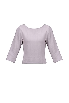 Beige Grey Noil Silk Top