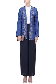Berry Blue Art Silk Trouser Pants by Ekadi