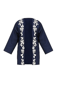 Navy Blue Floral Embroidered Jacket by Ekadi