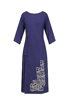 Blue Embroidered Long Tunic by Ekadi