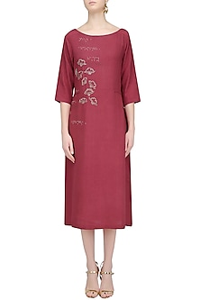 Rose Pink Brick Embroidered Dress by Ekadi