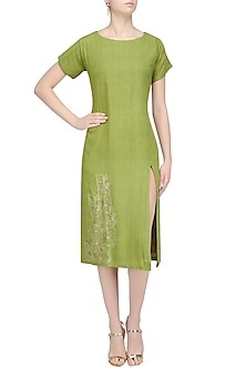 Leaf Green Embroidered Tunic Dress by Ekadi