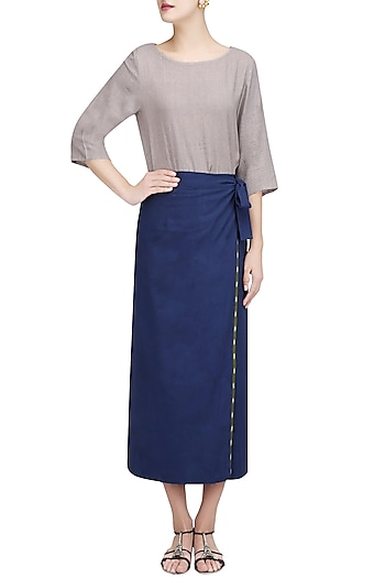 Blue Wrap Around Skirt Set by Ekadi