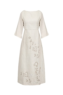 Beige Grey Embroidered Dress