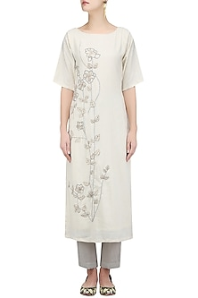 Off White Embroidered Tunic by Ekadi