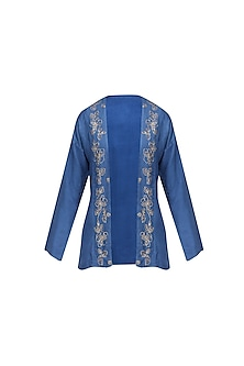 Blue Floral Embroidered Jacket