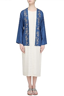 Blue Floral Embroidered Jacket by Ekadi