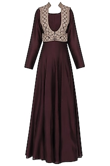 Wine Anarkali Gown with Embroidered Jacket