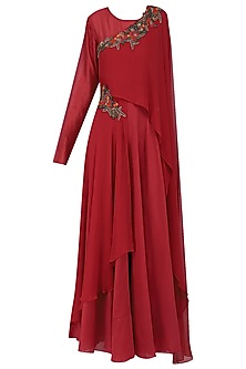 Red Embroidered Asymmetrical Drape Anarkali Gown