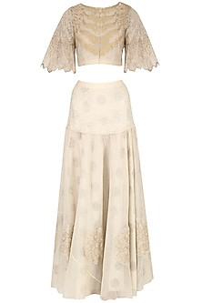 Beige Leaf design crop top with off white embroidered skirt