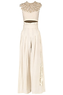 Off white 3D leaf embroidered crop top with high waisted pants