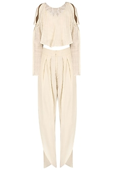 Off white Cold shoulder top with overlap tulip pants