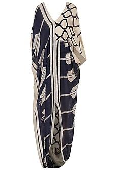 Beige and navy drape dress