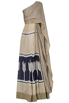 Beige and navy Pleated drape saree