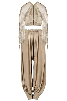 Biege embroidered cropped jacket with beige dhoti pants