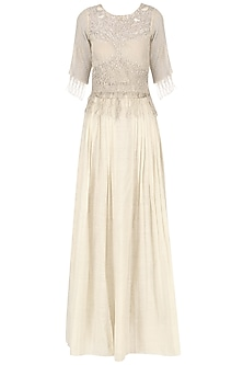 Beige Embroidered top with pleated skirt