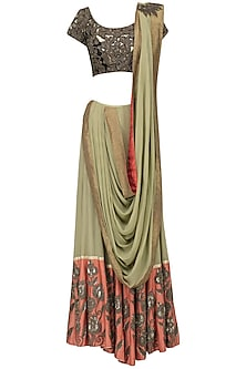 Green Lehenga Saree with Embroidered Blouse
