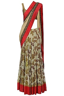 Floral Printed Lehenga Saree with Embroidered Jacket Blouse