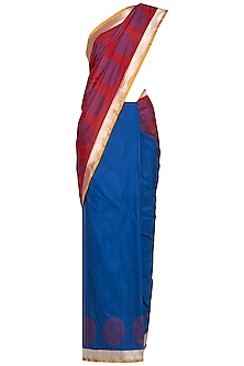 Blue Handwoven Banarasi Saree by Ekaya