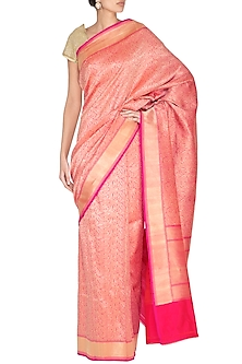Pink Handwoven Banarasi Saree by Ekaya