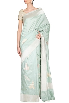 Aqua Green Handwoven Banarasi Saree by Ekaya
