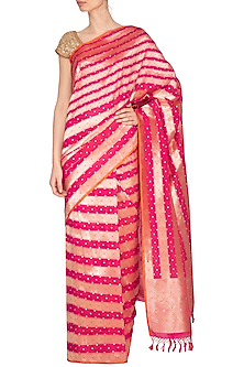 Red Handwoven Banarasi Saree by Ekaya