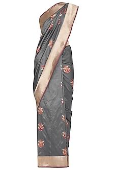Grey Handwoven Banarasi Saree by Ekaya