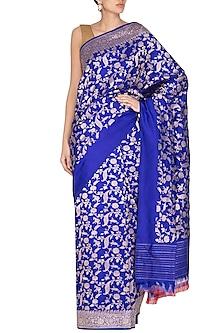 Blue Handwoven Silk Saree by Ekaya