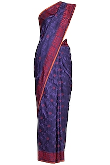 Blue Banarasi Handwoven Saree by Ekaya