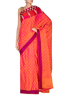 Pink Banarasi Handwoven Saree by Ekaya
