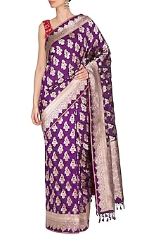Purple Handwoven Banarasi Saree by Ekaya