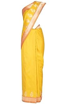 Yellow Handwoven Banarasi Saree by Ekaya